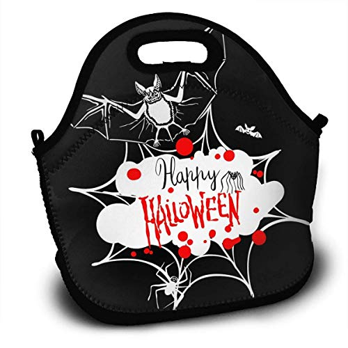 Insulated Neoprene Lunch Bag Reusable Thermal Thick Lunch Tote Bags For Women,Teens,Girls,Kids,Adults-Lunch Boxes For Outdoors,Work,Office,School - Happy Halloween Message