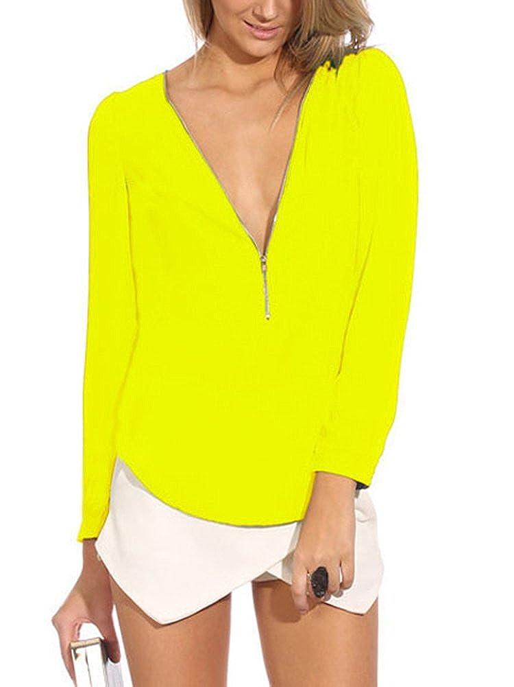 MAKIYO femmes Shirt Tops blouse chemisier Col V En Mousseline de Soie