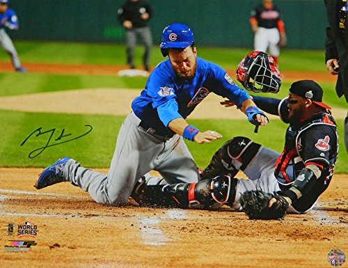 Ben Zobrist Signed Chicago Cubs 2016 World Series Home Plate Collision 16x20 Photograph - Certified Authentic Autograph