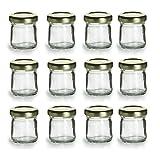 Nakpunar 12 pcs , 1.5 oz Mini Glass Jars for Jam, Honey, Wedding Favors, Shower Favors, Baby Foods, DIY Magnetic Spice Jars