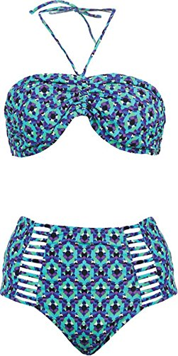 Strappy Highwaisted Bikini 2pc Swimsuit, L, Moroccan-Blue