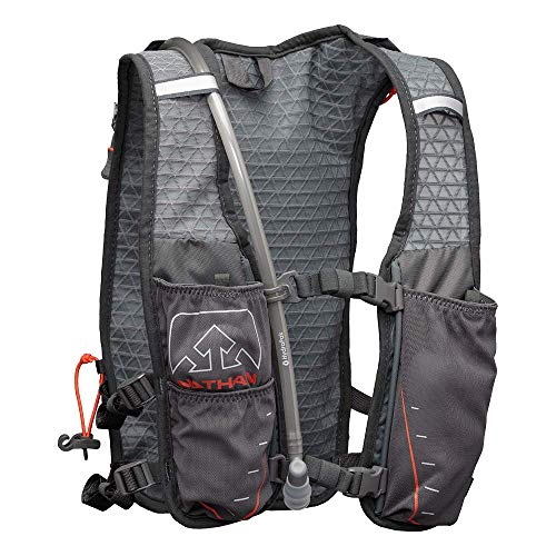 Nathan TrailMix Running Vest/Hydration Pack. 7L (7 Liters) for Men and Women | 2L Bladder Included (2 liters). Zipper, Phone Holder, Water (Charcoal/Steel Grey/Cherry Tomato, One Size Fits Most) by Nathan (Image #2)