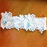 White Flowers Lace Faux Pearls Garters Various Styles for Brides/Valentine Day/Anniversary/Weddings … (Medium, Beads and Pearls)
