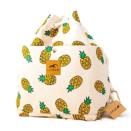Canvas Bucket Bag - Canvas Drawstring Bucket Bag - Shoulder Day Bag, Backpack by Lemur Bags (Pineapples)