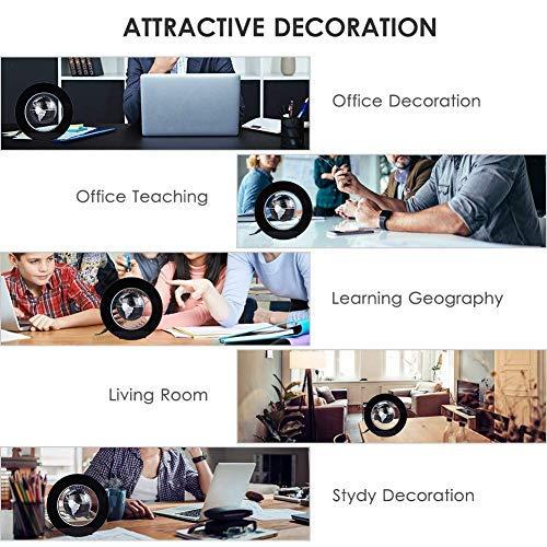 Desk Decoration - Magnetic Floating Globe with LED Lights, Magnetic Levitation Floating Globe World Map for Desk Decoration(Black) by Bonebit (Image #2)