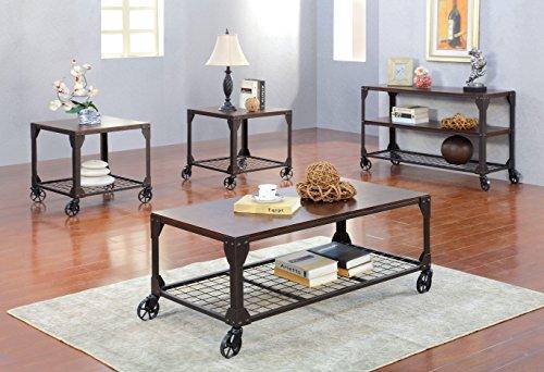 Furniture of America Kastas Industrial End Table, Black