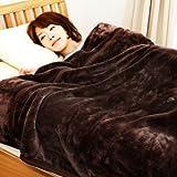 mofua (モフア) 毛布 カシミヤタッチ プレミアムマイクロファイバー シングル ブラウン 22030106