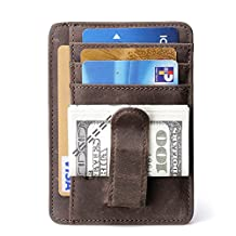 Teemzone Genuine Leather Money Clip Front Pocket Wallet with Magnet Clip Card Id Case (Brown IDWindow)