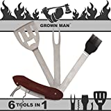 Grown Man BBQ Multi Tool - Includes Stainless Steel Spatula, Fork, Grill Brush, and more - Grilling...