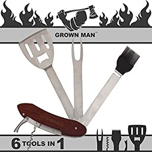 Grown Man™ BBQ Multi Tool - Includes Stainless Steel Spatula, Fork, Grill Brush, and more - Grilling Multitool for Backyard Grilling, Tailgating, and Camping