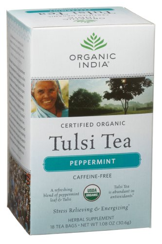 Organic India Tulsi Peppermint, 18-Count 1.08-Ounce Boxes (Pack of 6)