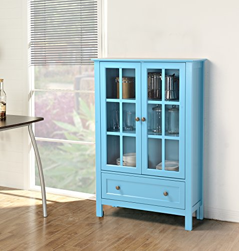 Homestar with 2-Door/ 1-Drawer Glass Cabinet, 47.25″ x 11.77″ x 68.1″, Blue