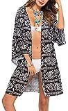 Spmor Women's Chiffon Boho Kimono Cardigan Beach Cover Shawl,one Size,07