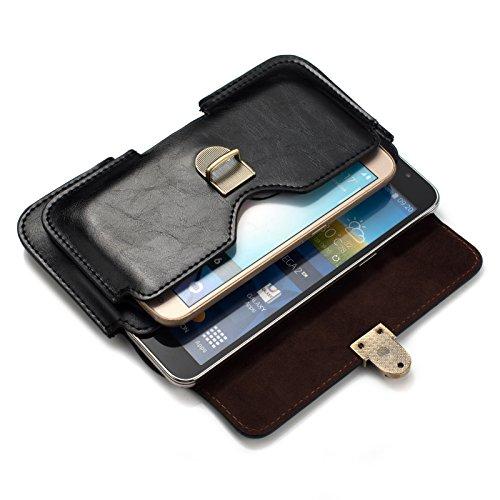 PU Leather Dual Poacket Horizontal Buckle Pouch Holster Belt Clip Case for iPhone 8 Plus/Motorola Moto G6/G5s Plus/G6 Play/Moto E4/E5 Plus/Google Pixel 2 XL/HTC U11 Eyes (Black)