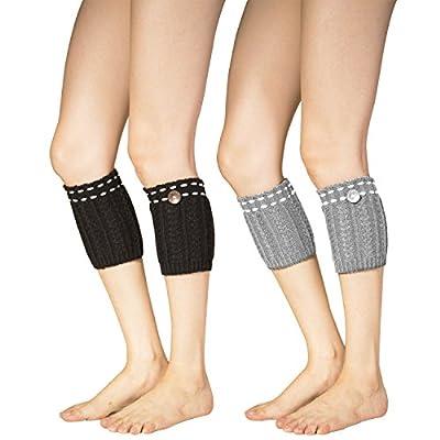 2 Pack of Womens Short Crochet Leg Warmer Knit Boot Socks Topper Cuff