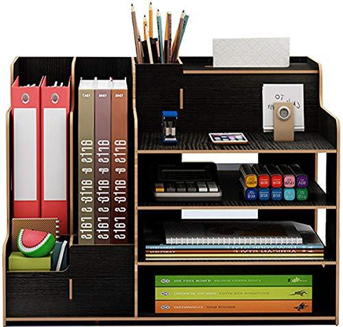 Catekro Caja de almacenamiento de escritorio de gran capacidad Porta boligrafos/Estanteria/Soporte de libros de madera, 39x29x28cm