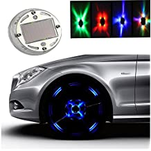 Solar Energy Car Wheel Tire Air Valve Cap Light Decor Lamp Valves Flashing 4 LED Lights Decor With Motion Sensor and Darkness Sensor(4 PCS)