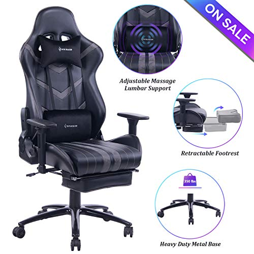 VON RACER Massage Gaming Chair Racing Office Chair - Adjustable Massage Lumbar Cushion, Retractable Footrest and Arms High Back Ergonomic Leather Computer Desk Chair (Gray/Black)