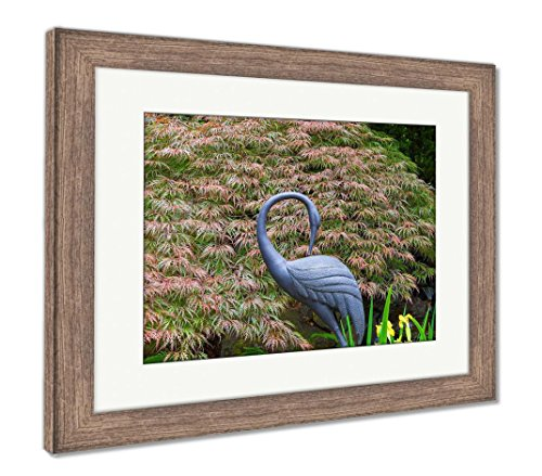 Iris Sculpture Metal Garden (Ashley Framed Prints Bronze Crane Statue Sculpture By Red Japanese Maple Tree In Home Garden, Wall Art Home Decoration, Color, 30x35 (frame size), Rustic Barn Wood Frame, AG6503746)