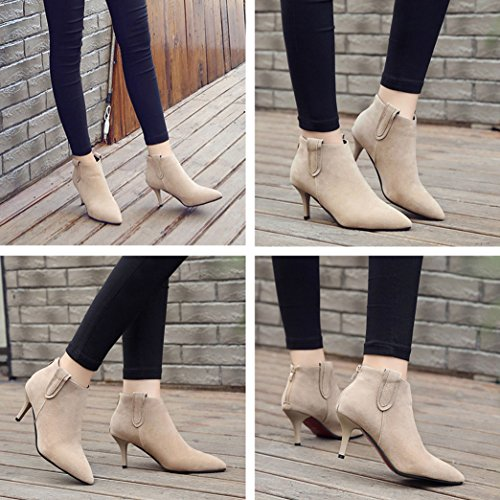Heel Toe Booties Beige Soft Zipper Ankle Dress Back Womens Gaorui Elegant Pointed Stiletto PzWFpnq7
