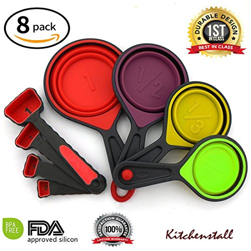 Portable 8-Piece Collapsible Silicone Measuring Cups & Spoons, Food Grade Silicone for Liquid Measuring and Dry Measuring Value Pack,Unique and Durable Collapsible Silicone Measuring Cups & Spoons set