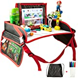 Kids Travel Tray for Car Seat, Stroller, Plane, Lap | Car Seat Tray | Dry Erase Surface, Sturdy Base and Side Walls, Mesh Pockets, Tablet Holder | Kids Tray for Travel Activities - Free Markers & Bag