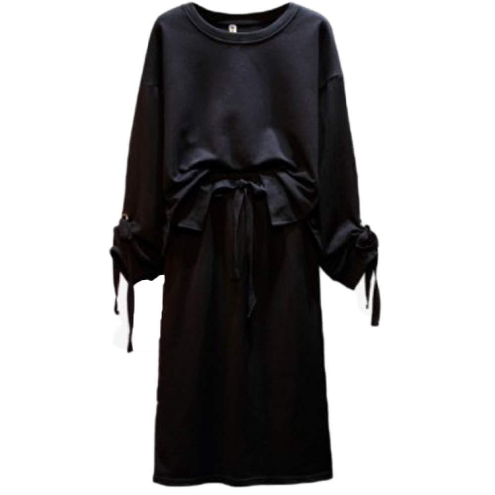A QJKai Autumn and Winter Women's Casual Suit Slim tie Skirt Plus Sweater TwoPiece