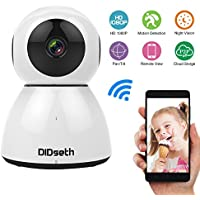 DIDseth 1080P WiFi Wireless IP Security Camera Pan/Tilt Support Cloud Storage Mobile APP Baby Monitor Home Surveillance Camera with Motion Detection, WiFi 2-Way Links, Night Vision