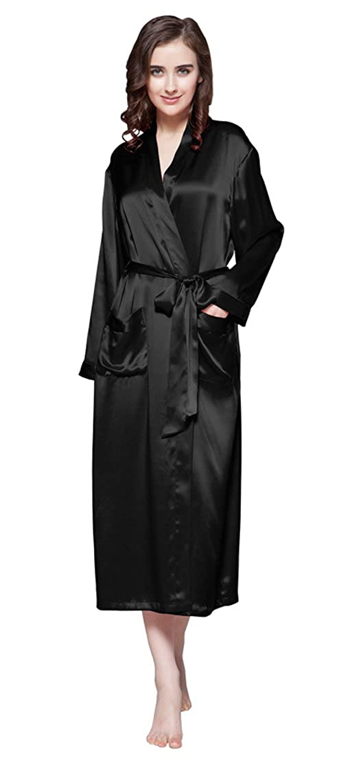 1aa17a3048 LILYSILK Women s Silk Dressing Gown Long Ladies Kimono Robe 100% Pure  Mulberry 22 Momme Silk  Amazon.co.uk  Clothing