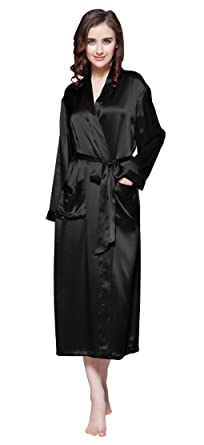 506a0fedf6c LilySilk Black Silk Robes for Women Long 22 Momme Pure Natural 100 Silk  Dressing Gown Size