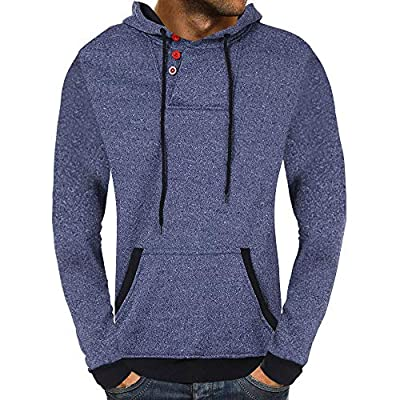 POHOK Clearance Deals ! Men's Casual Autumn Solid Buttons Hooded Sweatshirt Outwear Tops Blouse