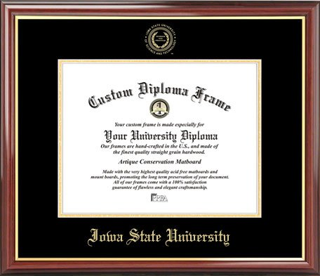 Laminated Visuals Iowa State University Cyclones - Embossed Seal - Mahogany Gold Trim - Diploma Frame