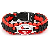 Beydodo Medical Bracelets Women Type 2 Diabetes Mens Bracelet Nylon Diabetic Type 2 Medical Signs