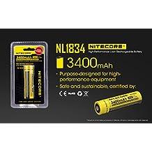 2 Pcs Nitecore NL1834 3400mah 18650 Li-on Protected Rechargeable Battery 3.7v 12.6wh new version of NL189