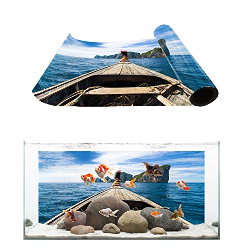 Fantasy Star Aquarium Background Heaven Island Wooden Boat Prow Fish Tank Wallpaper Easy to Apply and Remove PVC Sticker Pictures Poster Background Decoration 12.4