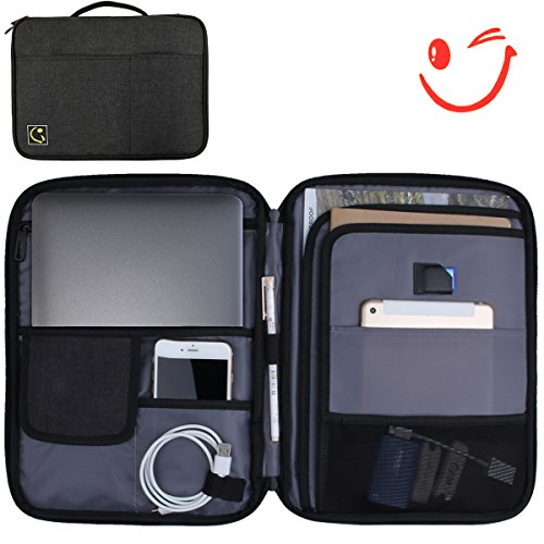 Hilike Multifunction Tablet bags-A4 Document File Organizer Bag (Surface Waterproof)-old Ipad pro 12.9''、Surface book Pro,Storage for Travel Office –Black ()