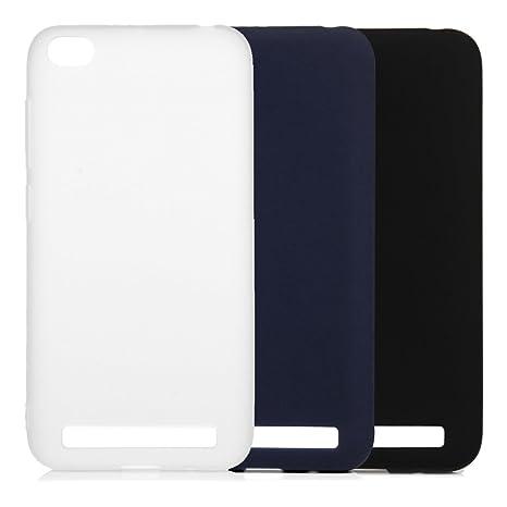 3x Funda Xiaomi Redmi 5A, Carcasa Silicona Suave Cubierta Gel Case Ultra Delgado TPU Goma Flexible Cover para Xiaomi Redmi 5A - Negro Azul Blanco