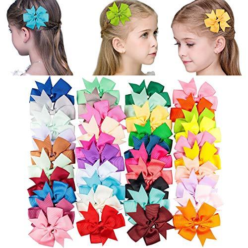 - Avando Boutique Grosgrain Ribbon Pinwheel Hair Bows Clips for Baby Girls Teens Toddlers Kids Children Set of 40