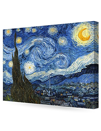 Night Canvas Print - DECORARTS Starry Night, Vincent Van Gogh Art Reproduction. Giclee Canvas Prints Wall Art for Home Decor 30x24 x 1.5