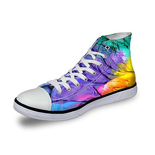 Para U Diseños Elegantes Zapatos De Lona Para Mujer High-top Planos Zapatillas De Deporte Con Cordones Púrpura