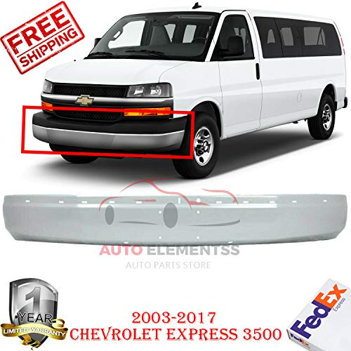 New Front Bumper Gray For 2003-2017 Chevy Express GMC Savana 1500 2500 3500 Base Extended/Standard Cargo LS/LT Passenger Van Cutaway With license plate holes OE Replacement Steel GM1002425