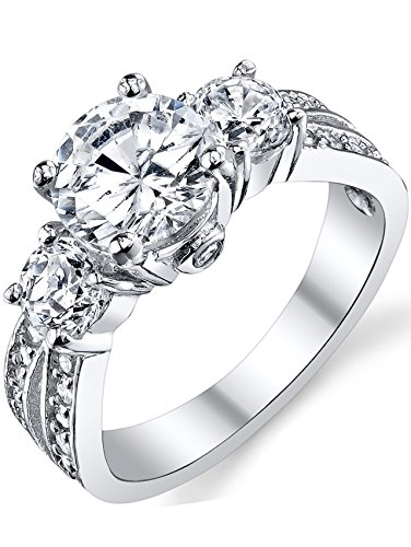 "1.50 Carat Round Cubic Zirconia "" Past, Present, Future"" Sterling Silver 925 Wedding Engagement Ring 11"