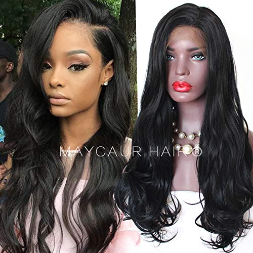 Maycaur Long Body Wave Wig Synthetic Lace Front Wigs With Baby Hair 180 Density Long Wave Synthetic Lace Front Wigs For Black Women (Black Wavy Lace Front) ()