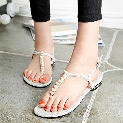zapatos planos de Verano para Estudiantes perla clip de dedo del pie deslizan los zapatos de las sandalias de playa Silver