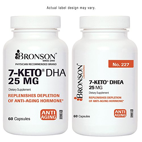 7-Keto DHEA 25 mg, Clinically Validated, 60 Capsules, Made in USA by Bronson Labs