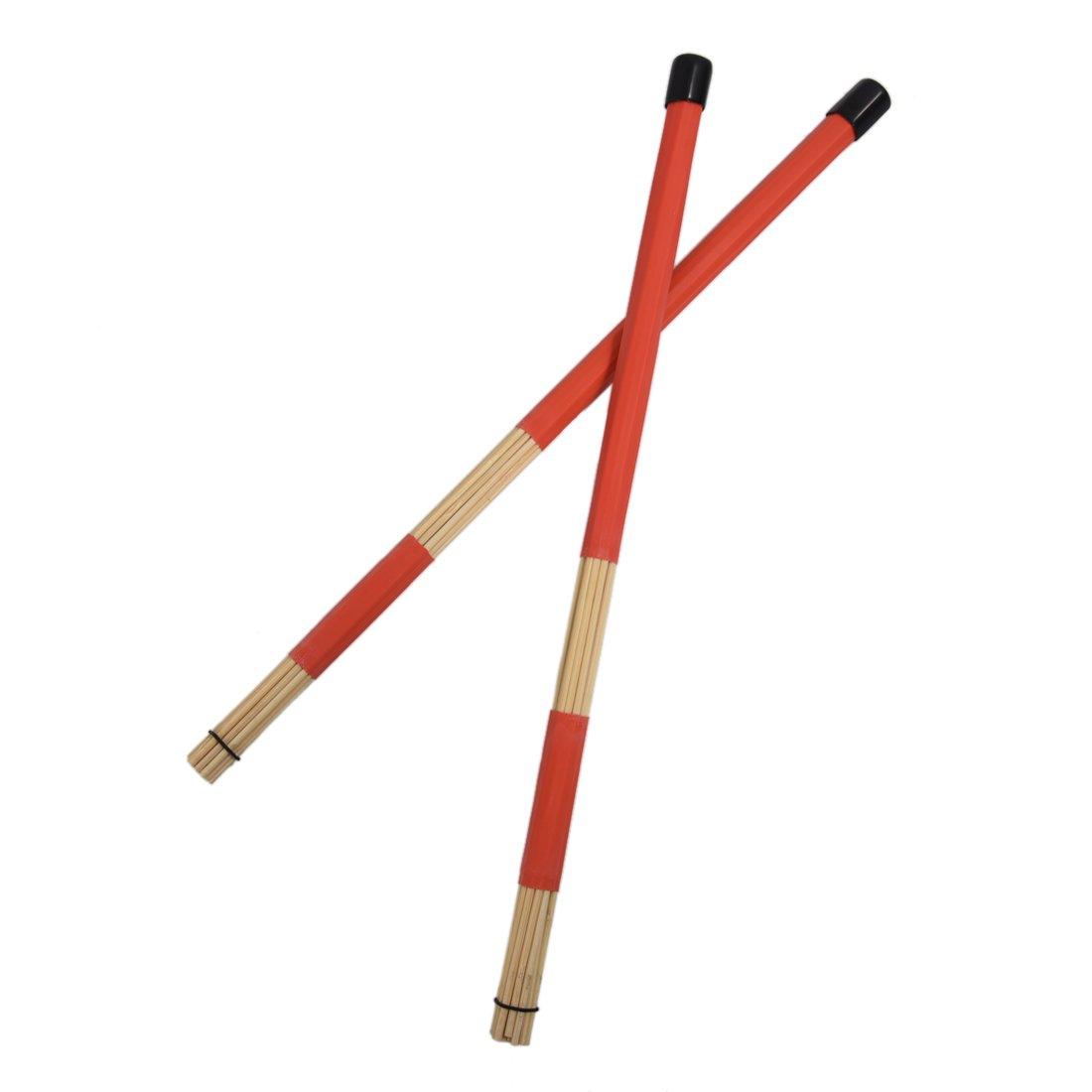 Rojo Nrpfell 1 par 40CM Vara de Bambu Baquetas Cepillos de Tambor para Musica folklorico Jazz