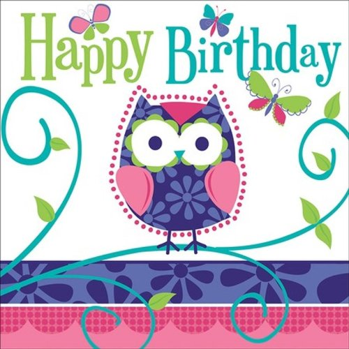 16-Count Paper Lunch Napkins, Owl Pal Happy Birthday (Lunch Birthday Napkins Style)