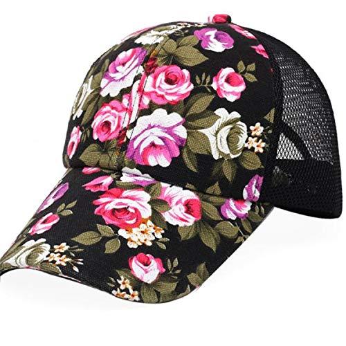 ✨Loosebee Floral Print Baseball Cap Adjustable 100% Cotton Canvas Dad Hat Hats for Women Black