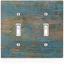 Wood with Blue on Wooden Old Vintage Background Double Light Switch Plate