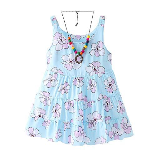 UMFun Chirdren Kids Girls Princess Belle Print Sleeveless Dresses Costume Clothing Blue]()